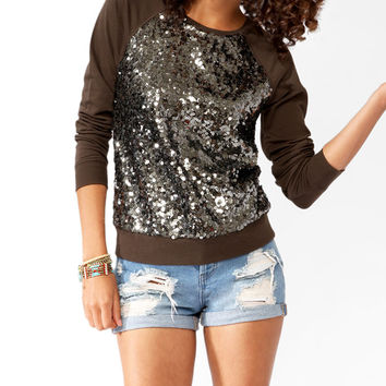 Sequined Raglan Pullover