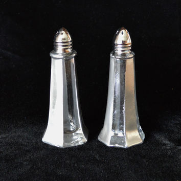 Hand Painted Silver and Clear Stripe Salt & Pepper Shakers