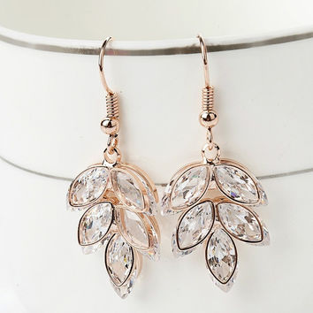 New Trendy Dangle Earrings Crystal Gold Plated Drop Earrings Summer Style Charm Long Earrings For Women Wedding Jewelry (Color: Golden) = 1946483012