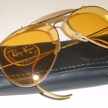 1960's 58MM B&L RAY BAN GP ALL-WEATHER AMBERMATIC SHOOTING AVIATORs SUNGLASSES