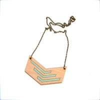 Lasercut Bass Wood Necklace with Mint Chevron Design