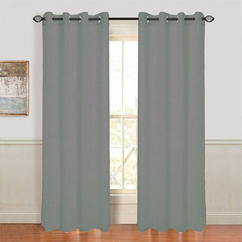 Lavish Home Mia Jacquard Grommet Curtain Panel - Dark Grey