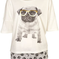 Slouchy Pug Tee + Shorts - Lingerie  Nightwear  - Clothing  - Topshop