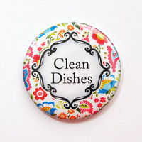 Dishwasher magnet, The dishes are clean, kitchen magnet, Floral, Clean Dishes, clean dishes magnet, Magnet, Bright Colors (3681)