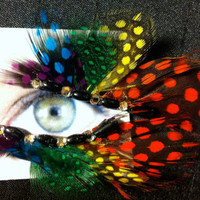 Rainbow MultiColored False Feather Eyelashes Pride by CatsMeow1940