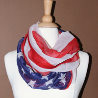 American Flag Infinity Scarf- Red White Blue Infinity Scarf - Loop Scarf, Circle Scarf - Handmade Women's Accessory