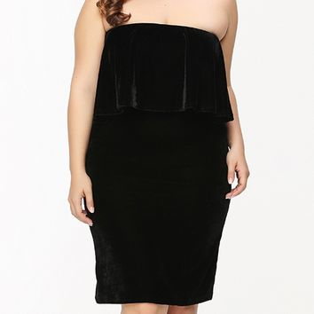 Streetstyle  Casual Black Strapless Flounce Plain Velvet Plus Size Bodycon Dress