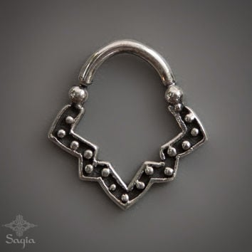 Silver Septum Ring For Pierced Nose, Tribal Septum, 925 Sterling Silver Nose Ring, Sacred Geometry Septum Jewelry