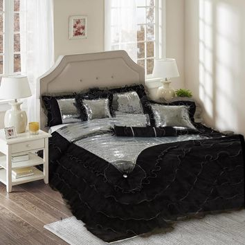 Tache 6 Piece Night Out Black Silver Luxurious Sequin Comforter Set (1622)