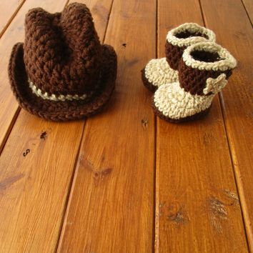 Crochet Cowboy Set Brown Tan Newborn Baby Photography Props