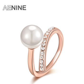 AENINE Trendy Simple Ring Rose Gold Color Simulated Pearl With Rhinestone Environmental Wedding Ring Jewelry Anillos R150840200R