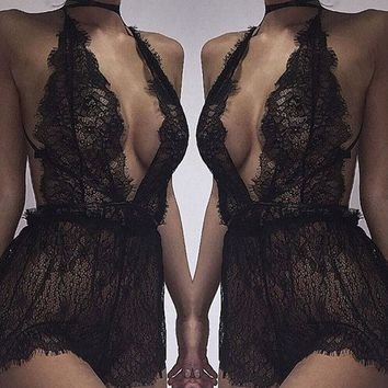 2017 Sexy Lace Backless Bodysuit Chantilly Lace Plunge Teddy Bridal Boutique Playsuit Women's One Piece Lingerie