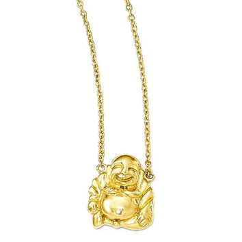 Cheryl M Sterling Silver Gold-Plated CZ Buddha Necklace