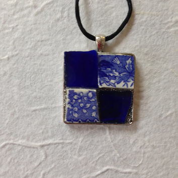 Blue mosaic stained glass pendant necklace blue and white vintage floral broken china and sapphire blue stained glass