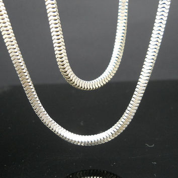 Long Box Chain, Sterling Silver, Thick Box Necklace, 30 Inch Necklace, 925 Necklace, Sterling Chain, 925 Chain, Silver Necklace, Italy 925