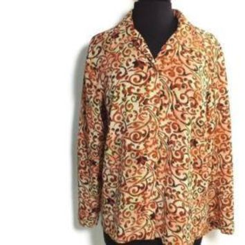 J H Collectibles womens Artsy Design Rust Cream Black Shirt Top Size L Large