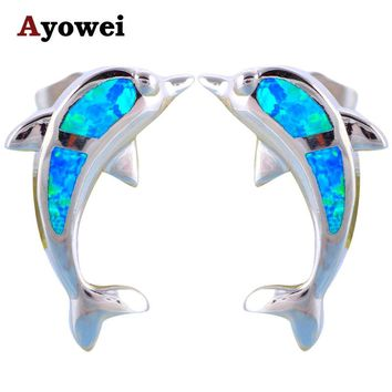 Ayowei Animal Dolphin Design 925 Silver Fashion Jewelry Blue Fire Opal Black Friday Stud Earrings for Girls OE606A