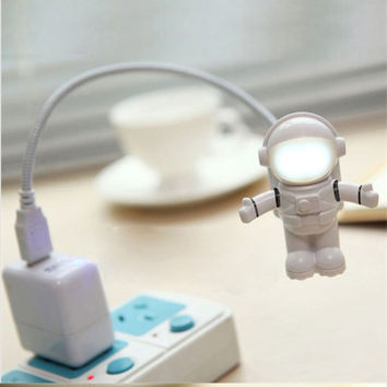 Fashion Cool New Astronaut Spaceman USB LED Adjustable Night Light For Computer PC Lamp Desk Light Pure White