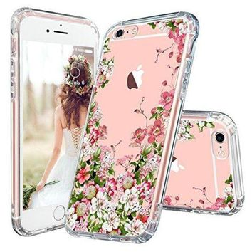 ONETOW iPhone 6 Plus Case, iPhone 6 Plus Clear Case, MOSNOVO Floral Printed Flower Clear Design Transparent Plastic Hard Slim Case with TPU Bumper Protective Cover for Apple iPhone 6 Plus 6s Plus (5.5 Inch)