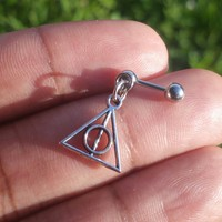 316L Stainless steel externally threaded 16g, 16 gauge Deathly Hallows helix, cartilage, tragus earring