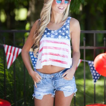 Sexy American Flag Print Tank Top Vest