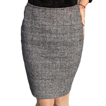 Plaid High Waist Pencil Knee-length Skirt Women Autumn Winter Sexy Chic Office Skirts Casual Slim Wool Ladies Skirts New