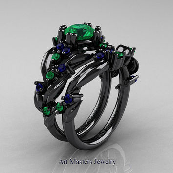 Nature Classic 14K Black Gold 1.0 Ct Emerald Blue Sapphire Leaf and Vine Engagement Ring Wedding Band Set R340S-14KBGBSEM