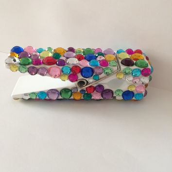 Rhinestone Multi Color Large Wooden Clothes Pin