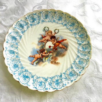 Antique Cherub Plate, Three Flying Cherubs, Trio of Angels Plate, Angel Wall Plate, Austrian Cherub Plate