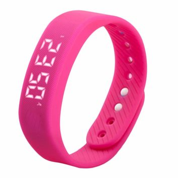 3D T5 LED Trends Sports Gauge Fitness Smart Step Calories Health Tracker Pedometer Watch Silicone Band Gym Wristband