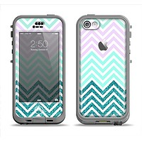 The Light Teal & Purple Sharp Glitter Print Chevron Apple iPhone 5c LifeProof Nuud Case Skin Set