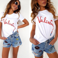 VALENTINO New fashion summer bust letter lipstick print short sleeve T-shirt top women White