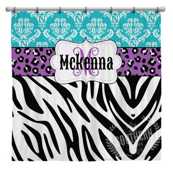 Personalized Animal Print Shower Curtain in Purple, Blue, Black