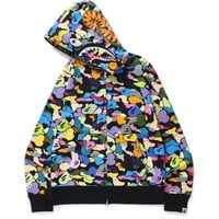 MULTI CAMO SHARK FULL ZIP HOODIE MENS