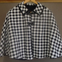 Black and White Checkered Cape/Poncho with Collar and 2 Knotted Notch Hooks