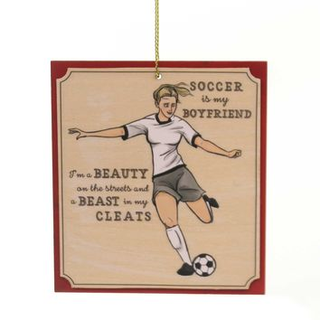 Holiday Ornaments SOCCER GIRL KEEPSAKE ORNAMENT Wood Cleats Sport 130535