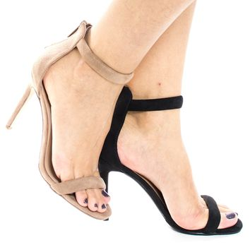 Swagger02 Beige By Sully's, Classic High Heel Strappy Zipper Ankle Strap Sandal, Women Shoes