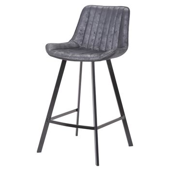 Langdon Fabric Counter Stool, Lustrous Black Set of 2