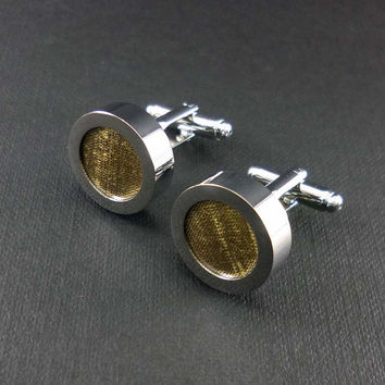 Gold silk mens cuff links - 12th or 4th anniversary cufflink set – silk anniversary gift – wedding cufflinks – mans accessories