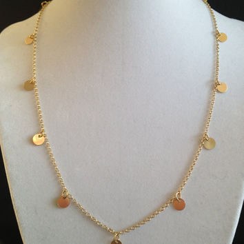 18 Inch - Courtney Cox Cougar Town Necklace -Tiny Discs Long 14k Gold Disco Necklace - Celebrity Style