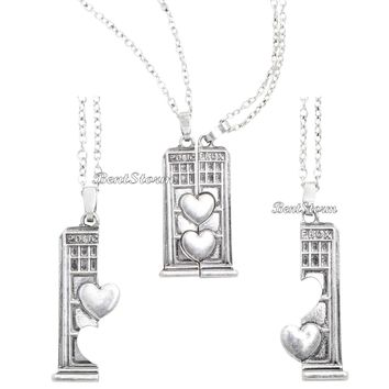 Licensed cool Doctor Who TARDIS Police  Box Heart Best Friend Necklace Set BFF besties BBC