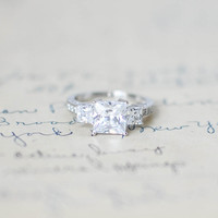 Three Stone Ring - Princess Cut Engagement Ring - Cubic Zirconia Ring - Anniversary Ring - Sterling Silver Ring - Wedding Ring - Square Cut