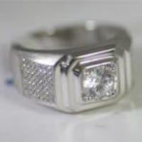 1 CT.(6.5mm) Center Simulated Diamond - Diamond Veneer Micro-Pave Sterling Silver Men Ring 635R2433