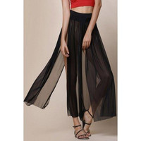 Stylish Low-Waisted Solid Color High Slit Women's Skirt
