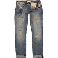 River Island MensMid wash ripped skull Dylan slim jeans
