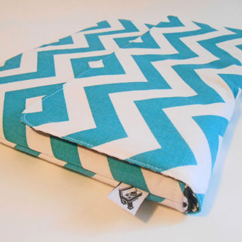 Macbook pro case, HP Chromebook 14 Case, Padded Macbook Cover - Turquoise Chevron - Laptop case, Laptop Cover, Laptop Sleeve