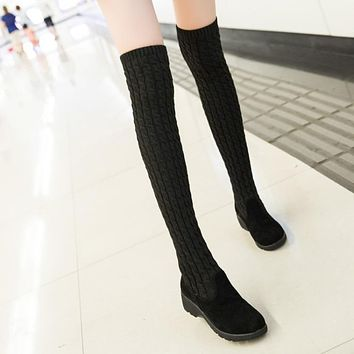 Women Boots 2018 Autumn Winter Ladies Fashion Flat Bottom Boots Shoes Over The Knee Thigh High Knitting Wool Long Brand Boots