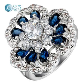 Top CZ Blue oval opals red crystal 2017 dropshipping silver plated big flower rings for women bridal engagement ring jewellery