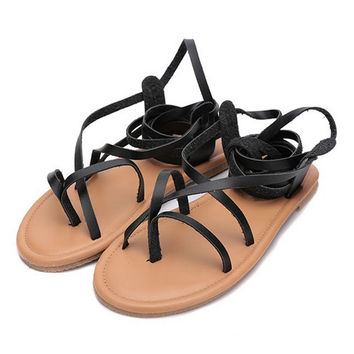 new arrival women gladiator summer boots strappy pu leather bandage lace up thong clip ring toe flat heel cut out sandals
