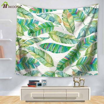 HAKOONA Wall Tapestry Tropical Plant Series Green Leaf Print Wall Decorative Beach Carpet  150X130CM 150X200CM 2 SIZES